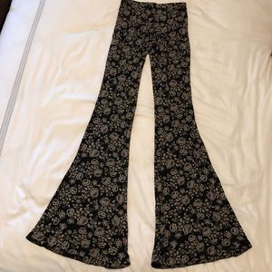 Black floral print bell bottoms